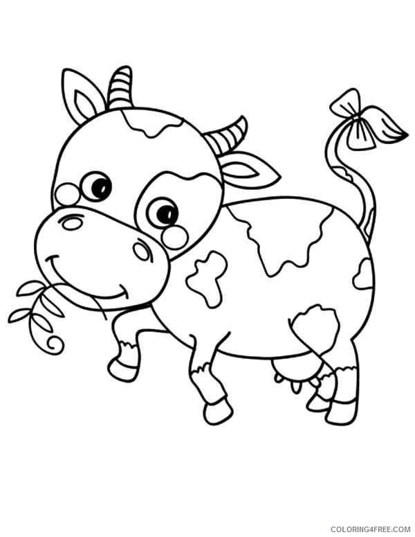 cute cow coloring pages eating grass Coloring4free