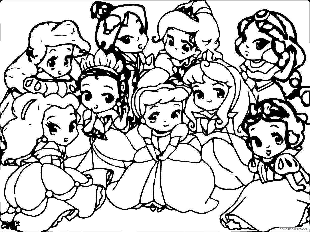 cute disney princesses coloring pages chibi Coloring4free