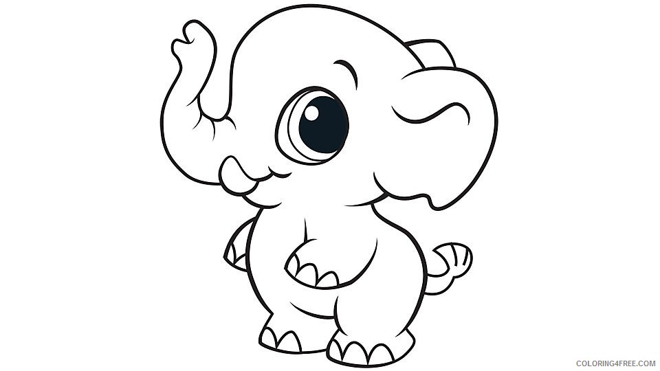 cute elephant coloring pages for kids Coloring4free