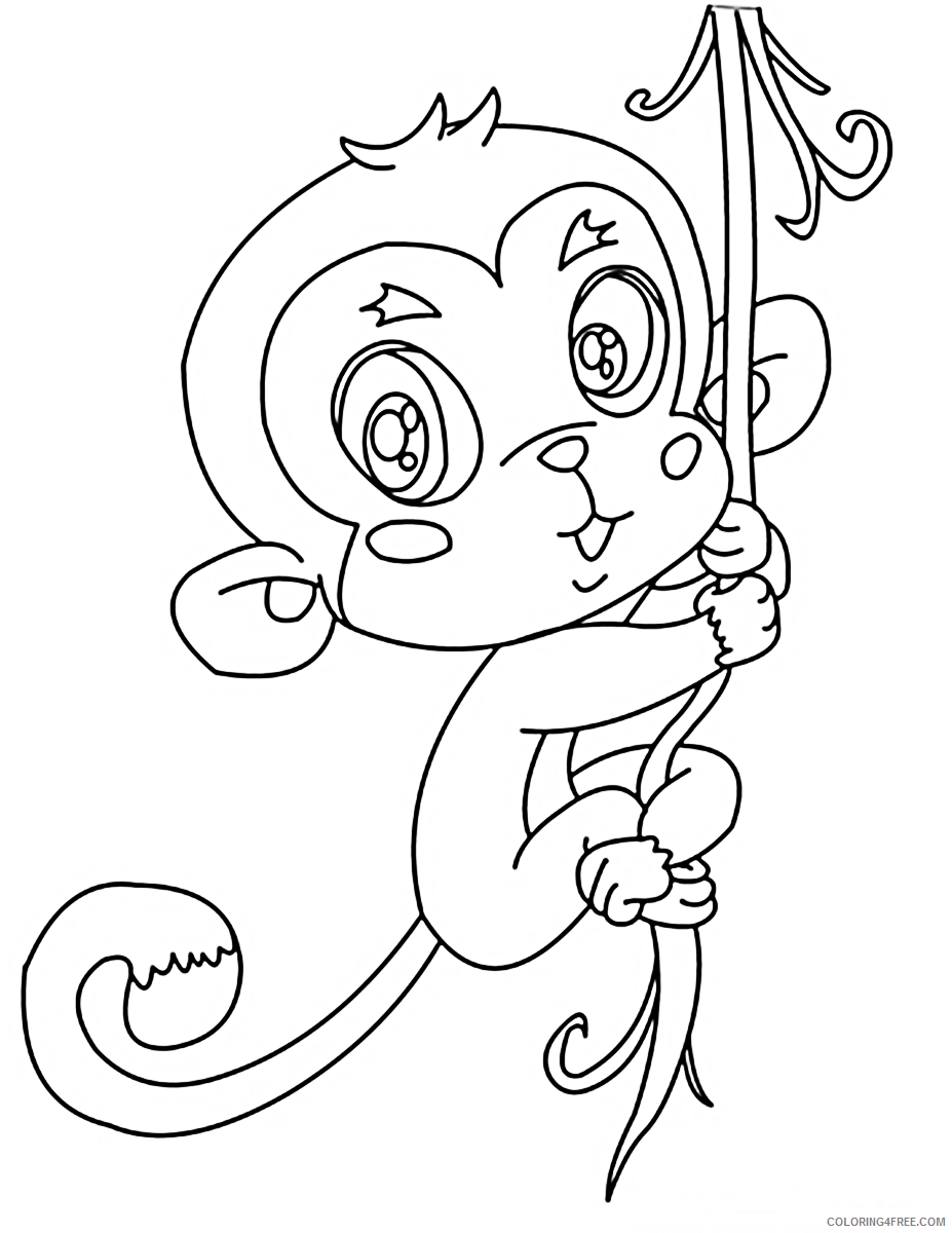 cute monkey coloring pages hanging on tree Coloring4free