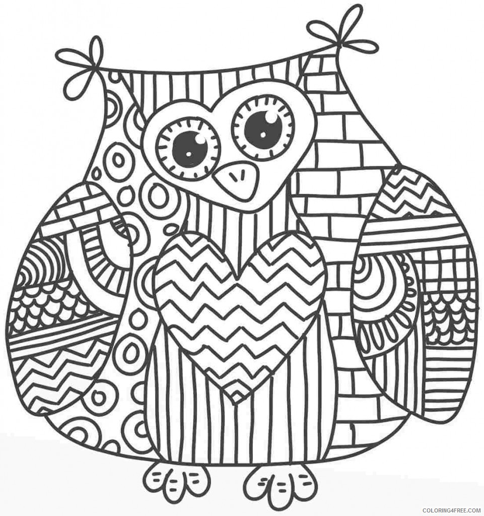 cute owl adult coloring pages Coloring4free