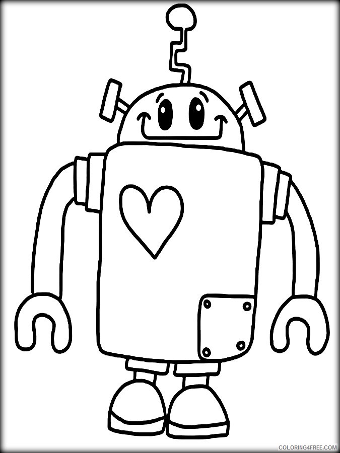 cute robot coloring pages to print Coloring4free