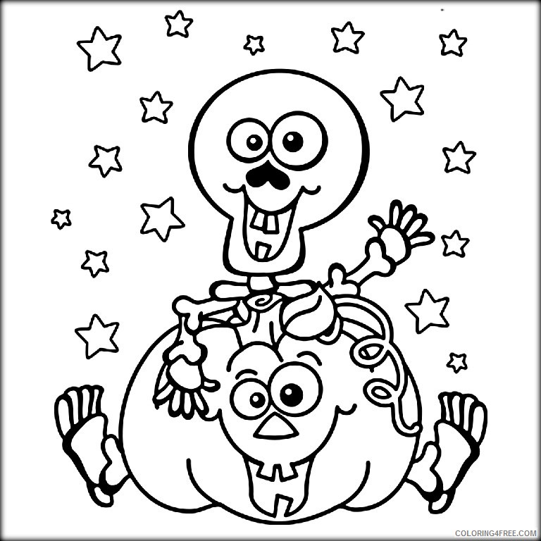 cute skeleton coloring pages and pumpkin Coloring4free