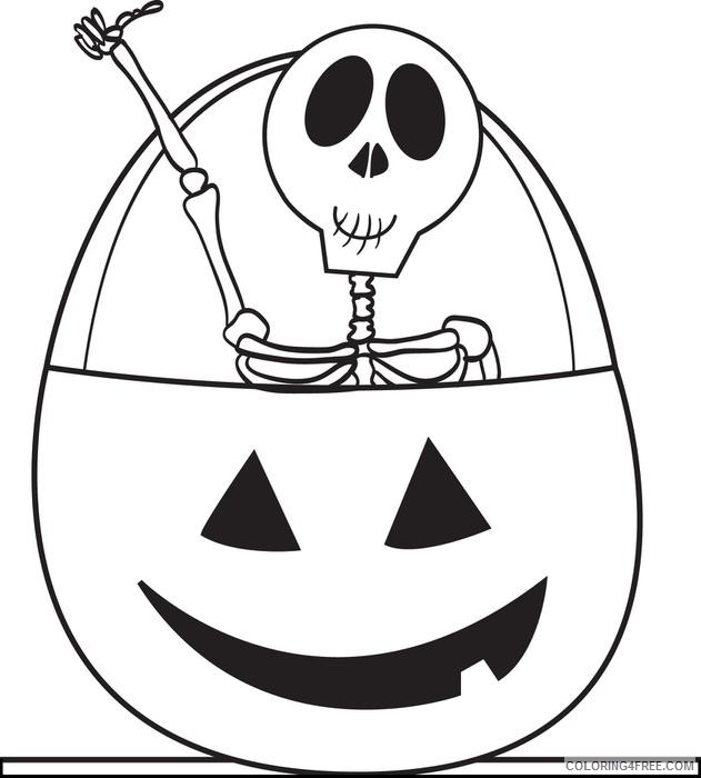 cute skeleton coloring pages in halloween pumpkin Coloring4free