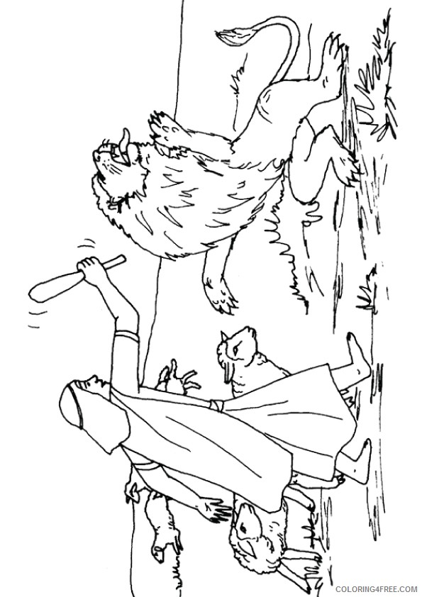 david and goliath coloring pages against lion Coloring4free