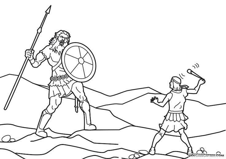 david and goliath fight coloring pages to print Coloring4free