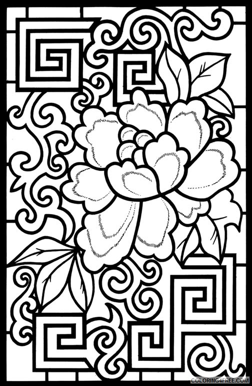 design coloring pages chinese flower Coloring4free