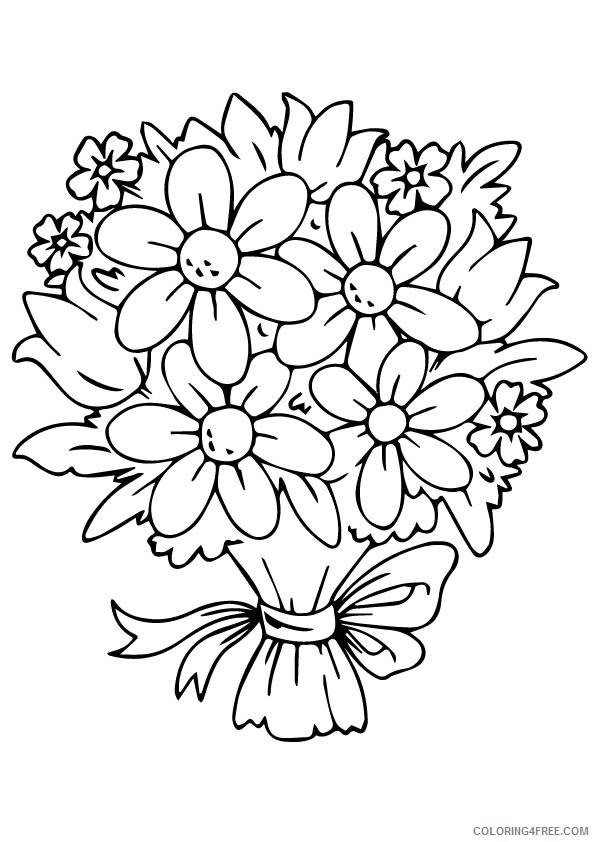 design coloring pages flowers bouquet Coloring4free
