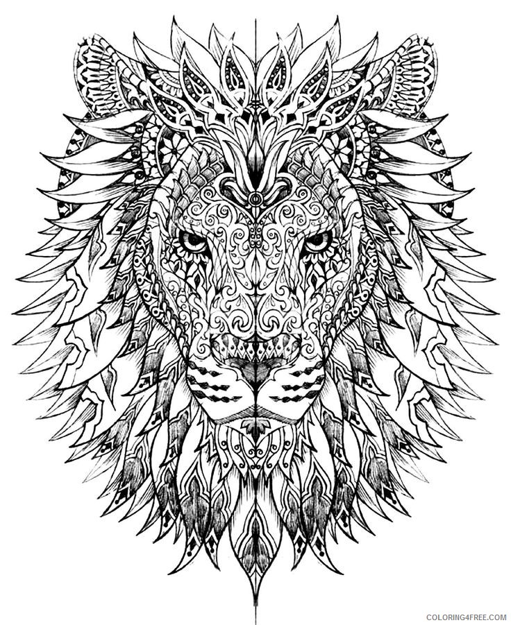detailed coloring pages animals lion head Coloring4free