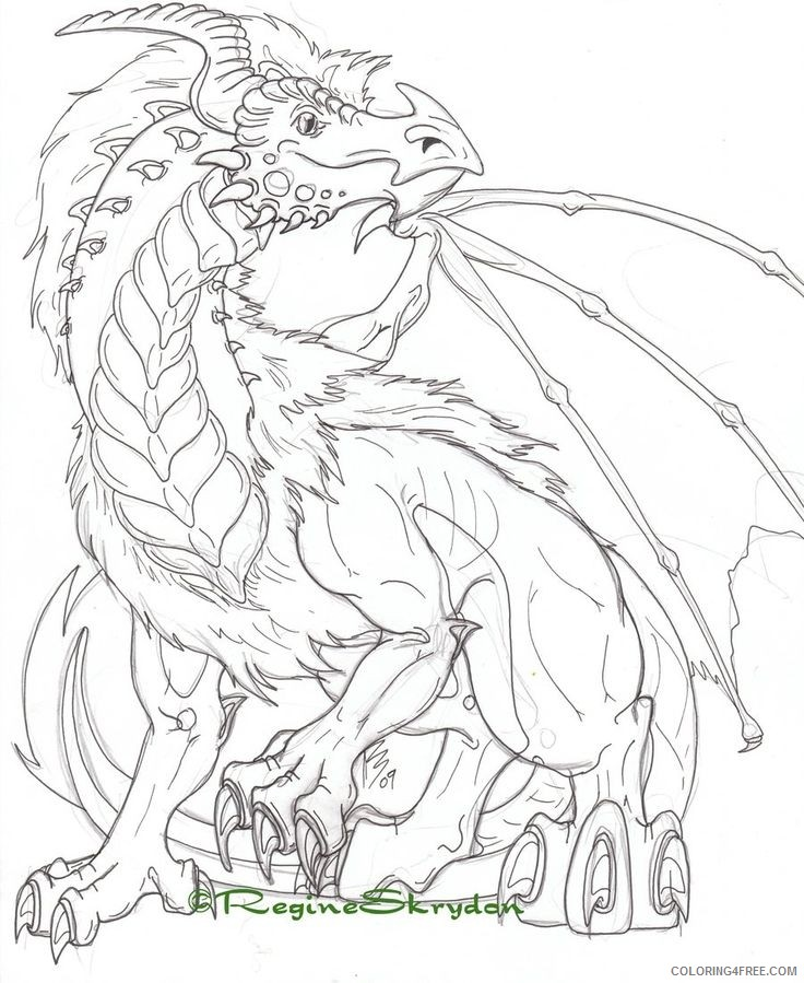 detailed coloring pages dragon Coloring4free