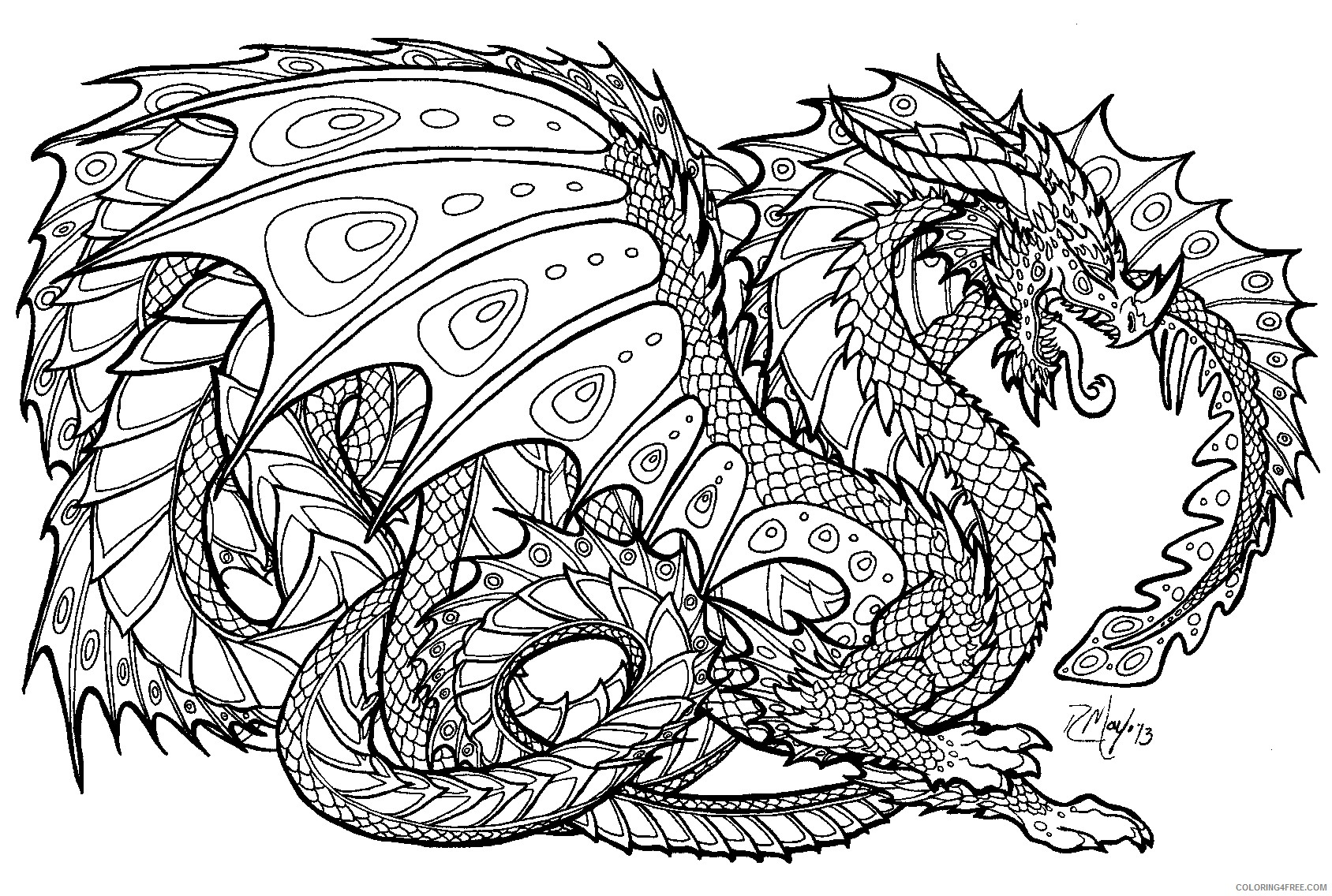 detailed coloring pages for adults dragon Coloring4free