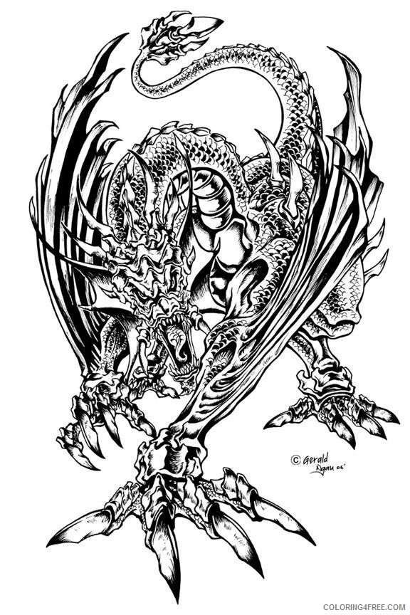 detailed coloring pages of dragon Coloring4free