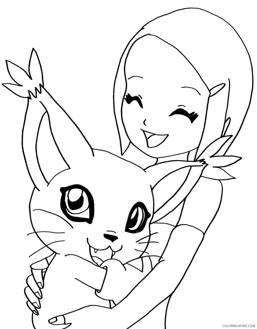 digimon coloring pages kari and gatomon Coloring4free