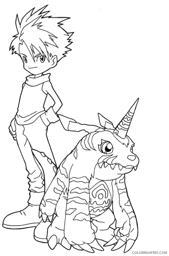digimon coloring pages matt and gabumon Coloring4free
