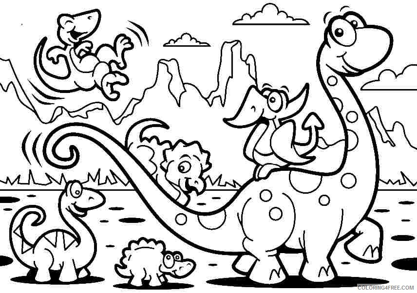 dinosaurs cartoon coloring pages for kids Coloring4free