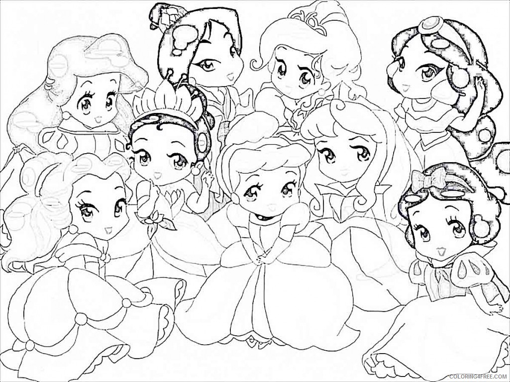 disney coloring pages cute princesses Coloring4free