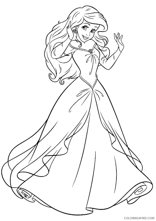 disney princesses coloring pages ariel Coloring4free