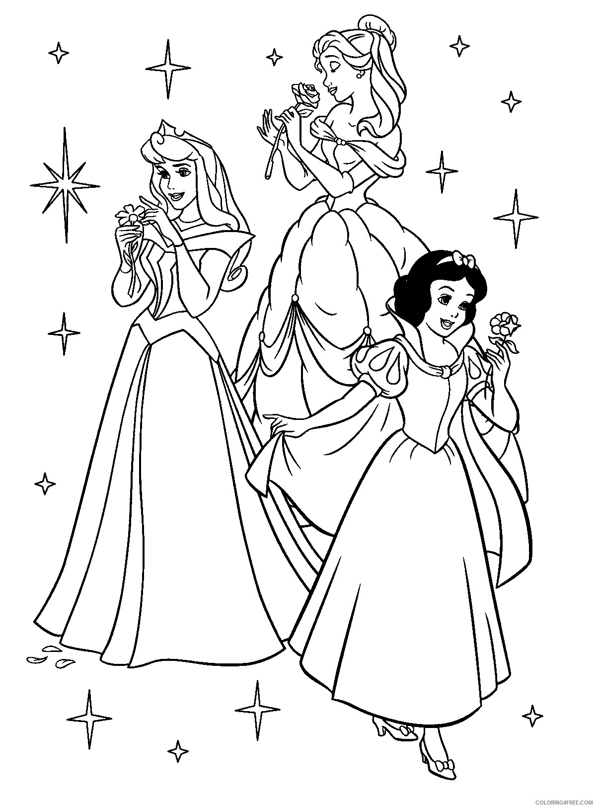 disney princesses coloring pages belle snow white Coloring4free