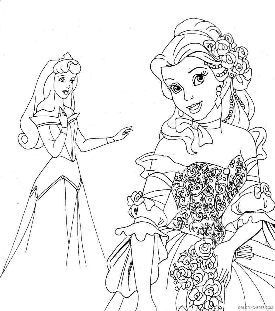 disney princesses coloring pages sleeping beauty and belle Coloring4free
