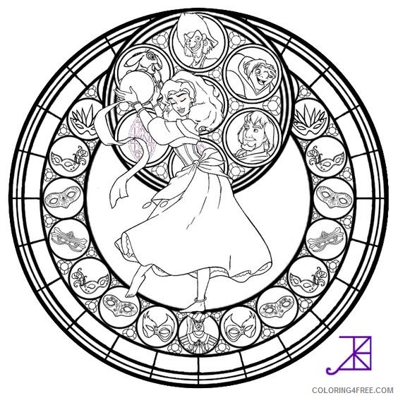 disney stained glass coloring pages Coloring4free