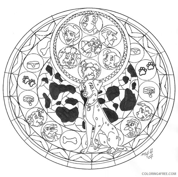 disney stained glass coloring pages dalmatians Coloring4free