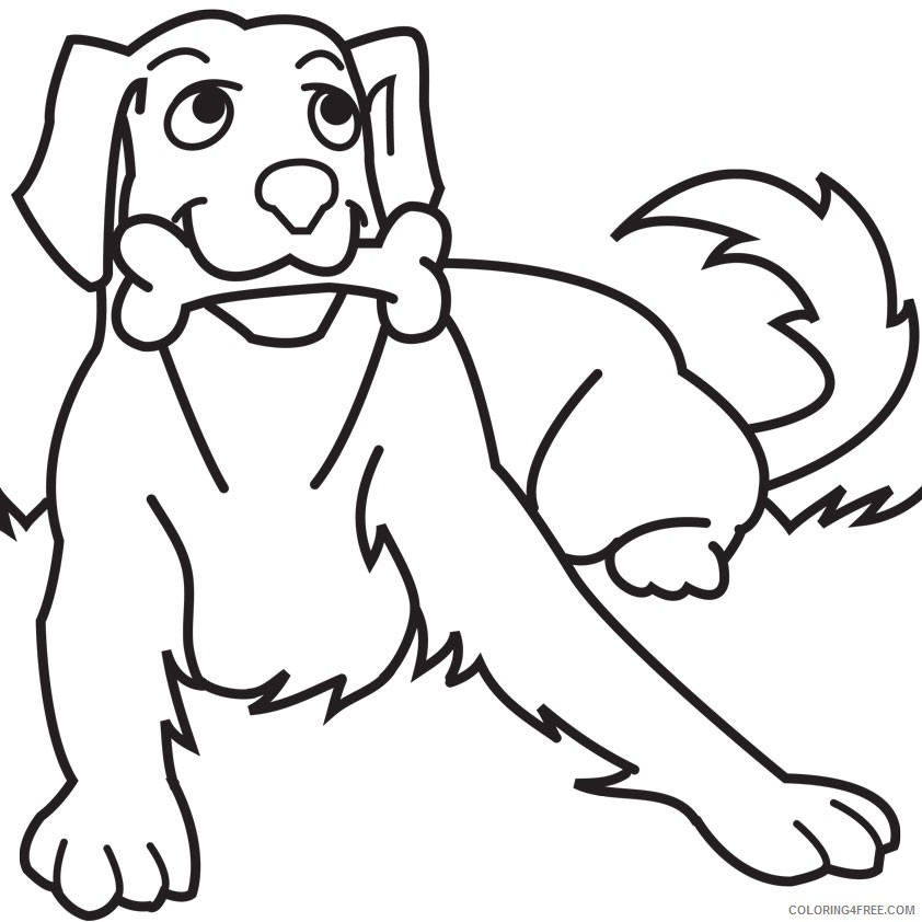 dog coloring pages chewing bone Coloring4free
