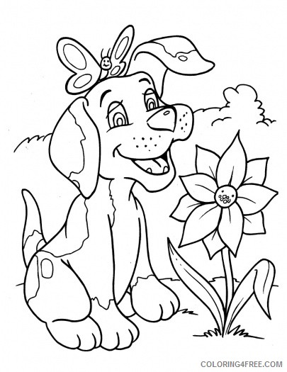 dog coloring pages with flower and butterfly Coloring4free