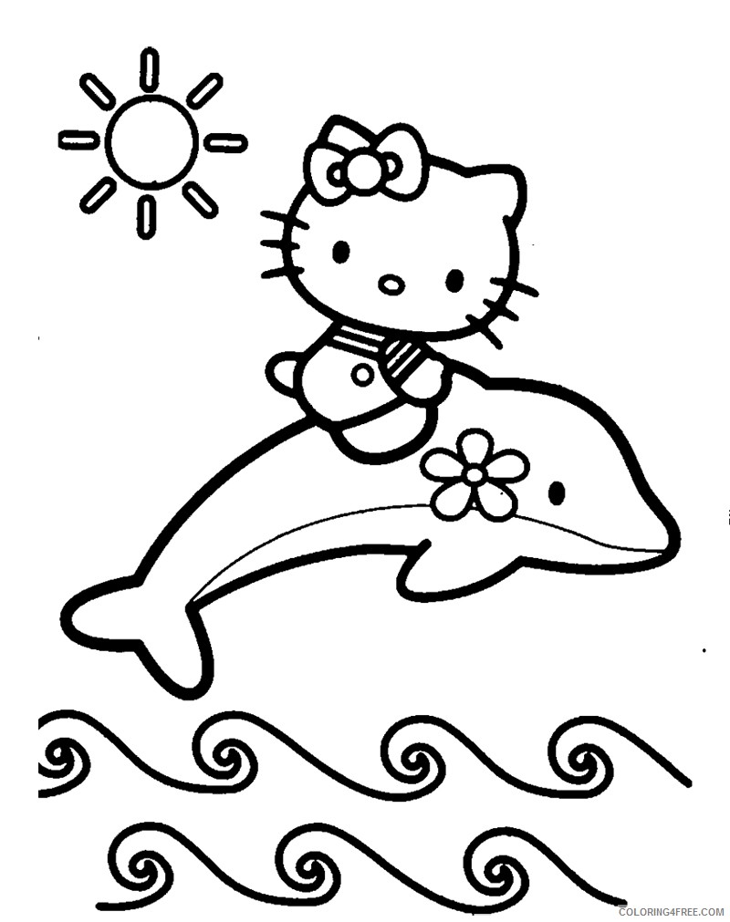 dolphin coloring pages and hello kitty Coloring4free