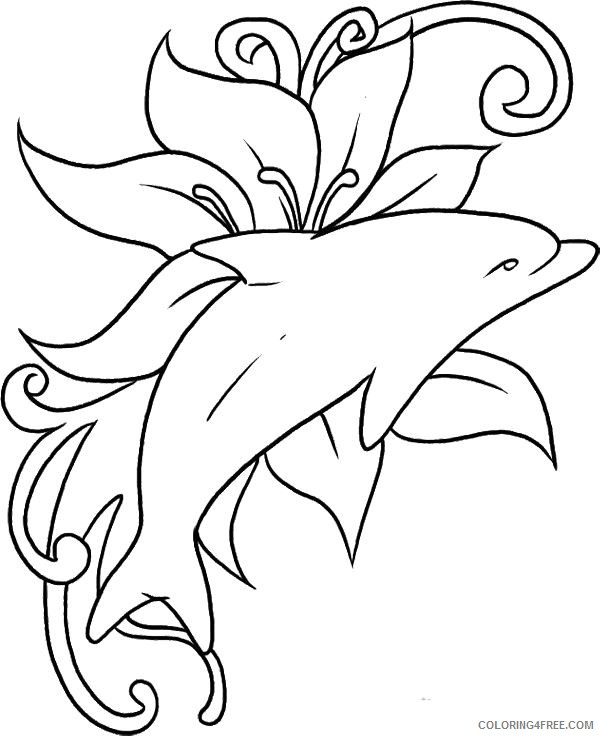 dolphin coloring pages free to print Coloring4free