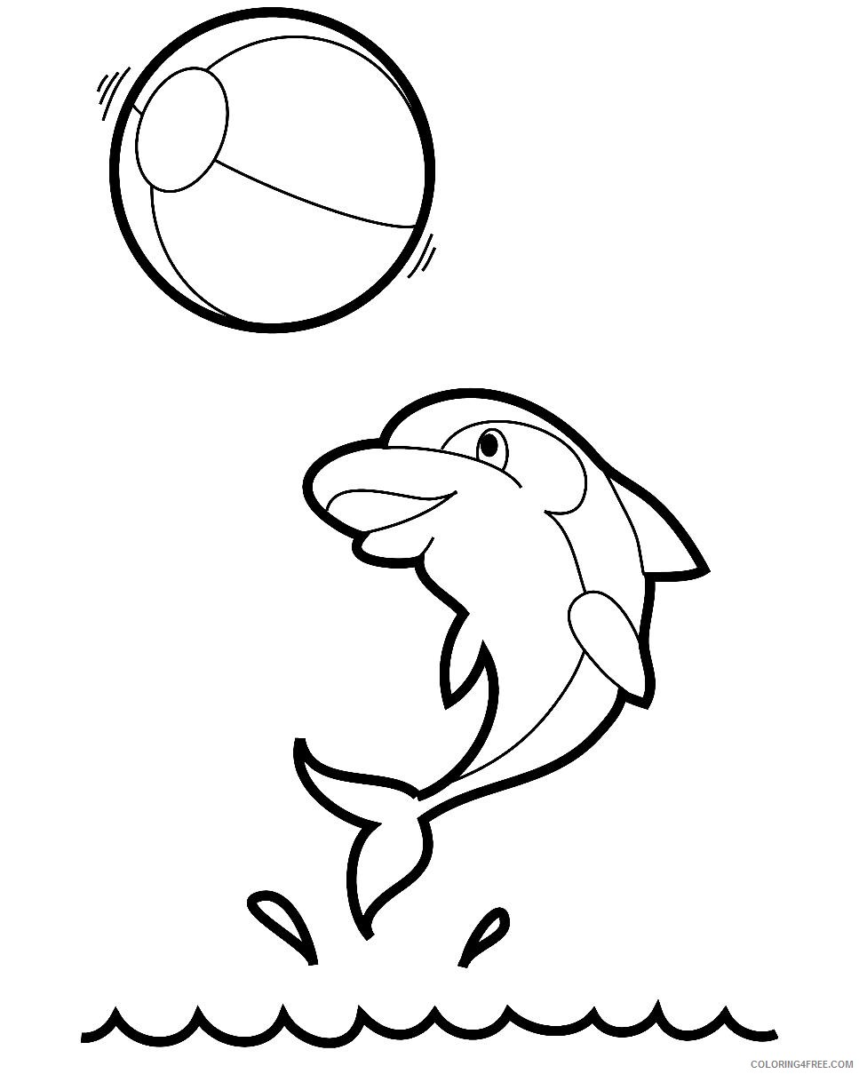 dolphin coloring pages playing ball Coloring4free