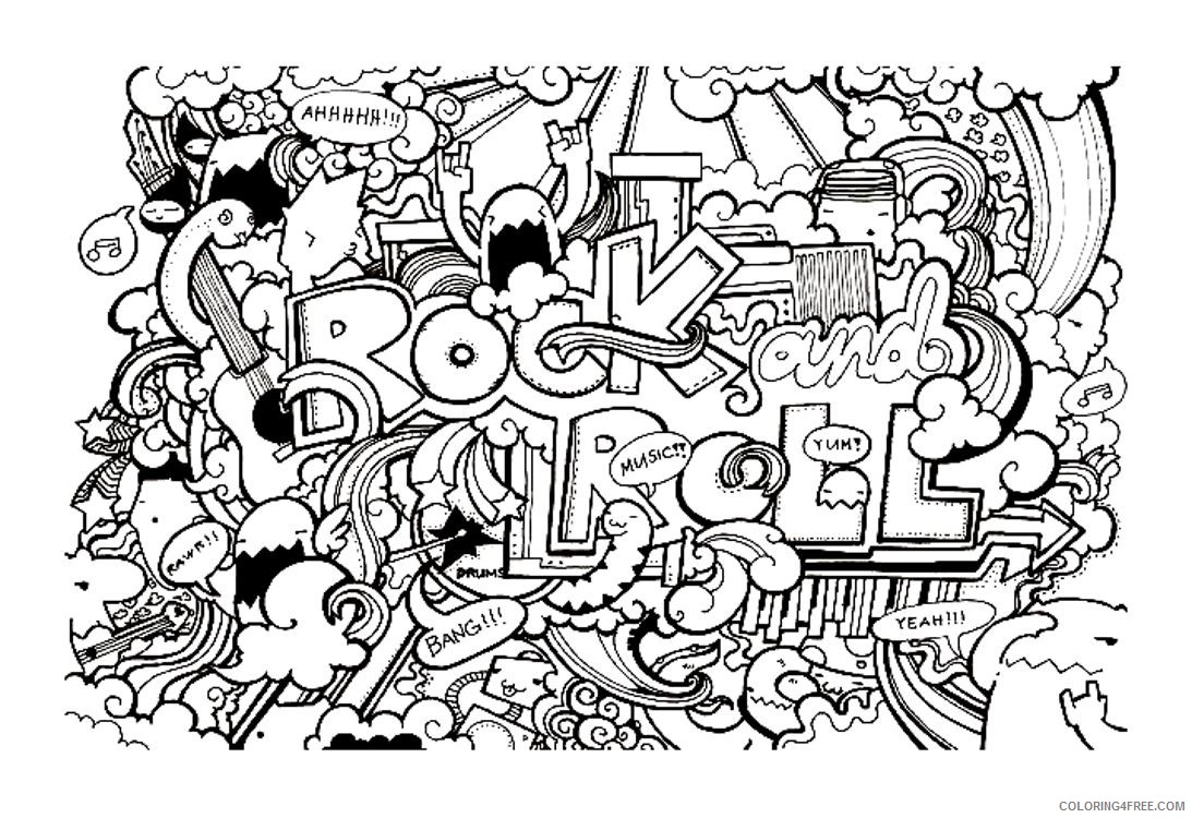 doodle art coloring pages to print Coloring4free