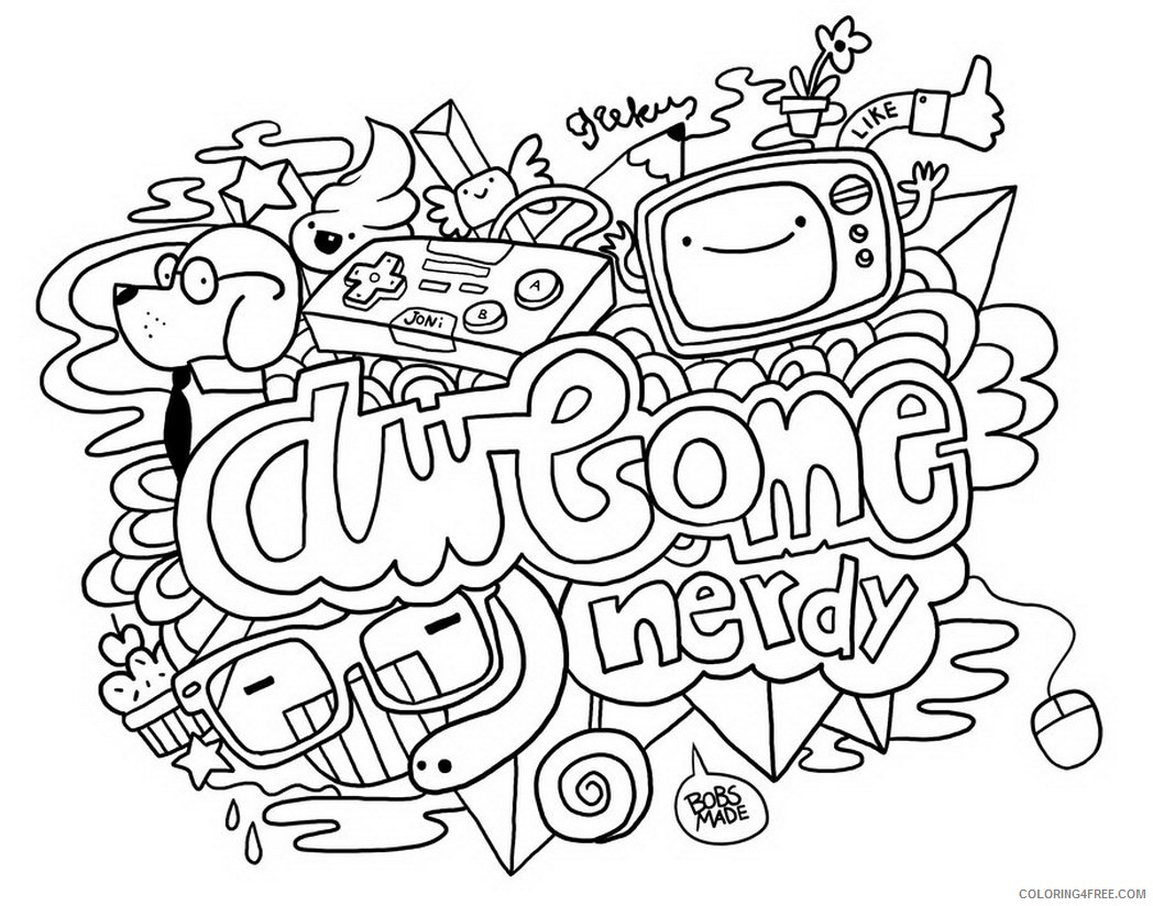 doodle coloring pages awesome Coloring4free