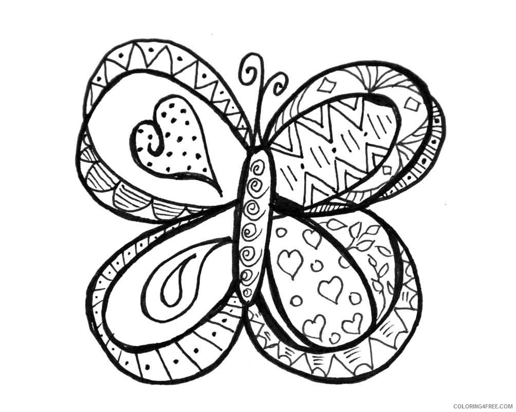 doodle coloring pages butterfly Coloring4free