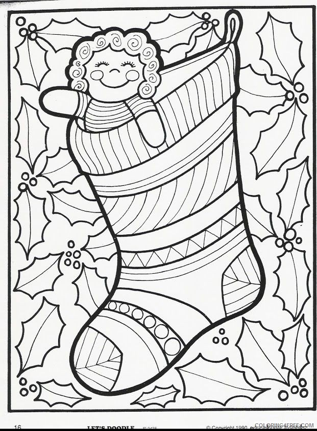 doodle coloring pages christmas Coloring4free