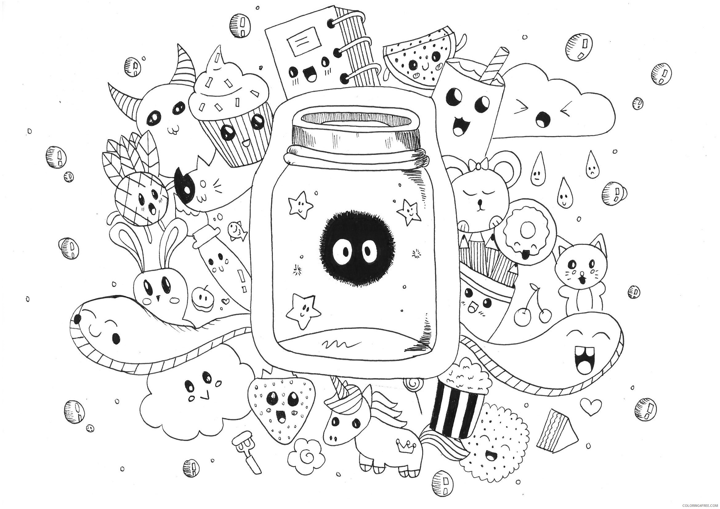 doodle coloring pages cute Coloring4free