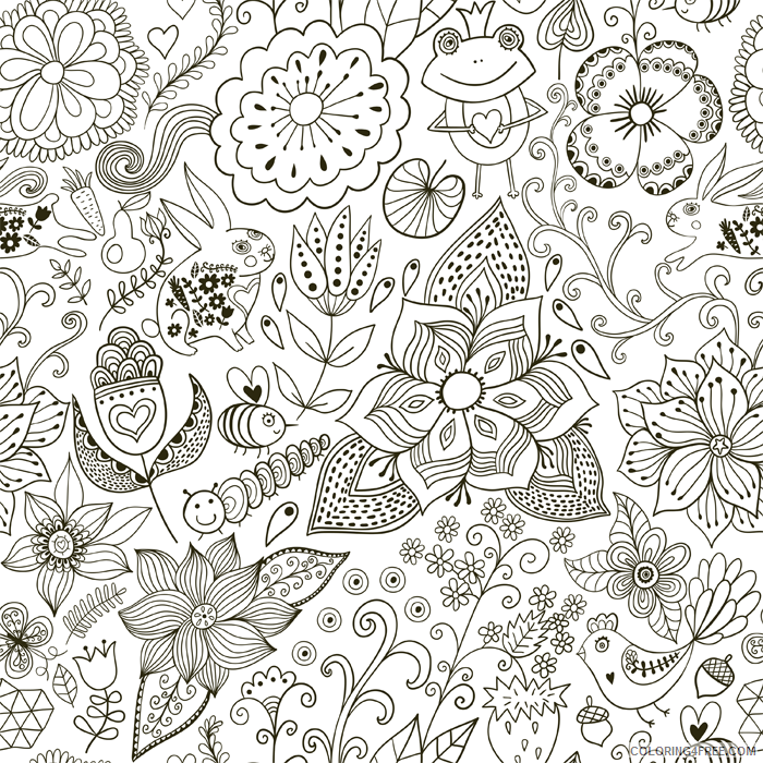 doodle coloring pages flowers Coloring4free