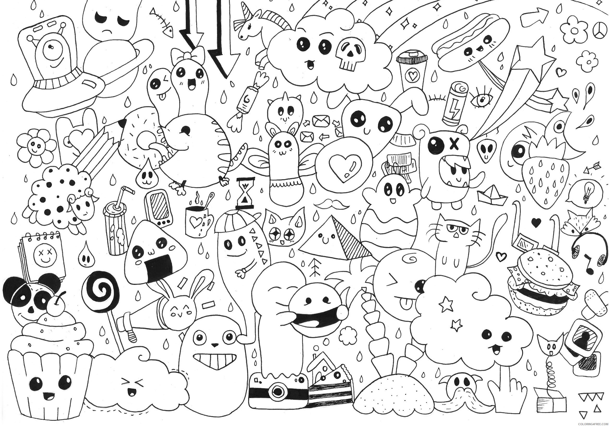 doodle coloring pages kawaii Coloring4free