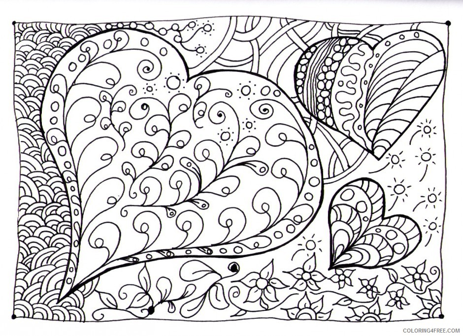 doodle coloring pages love hearts Coloring4free