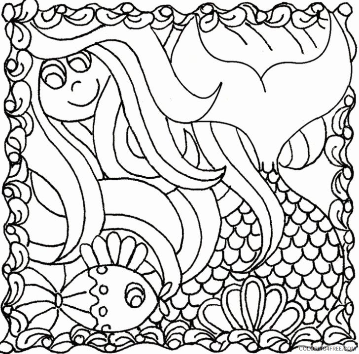 doodle coloring pages mermaid Coloring4free