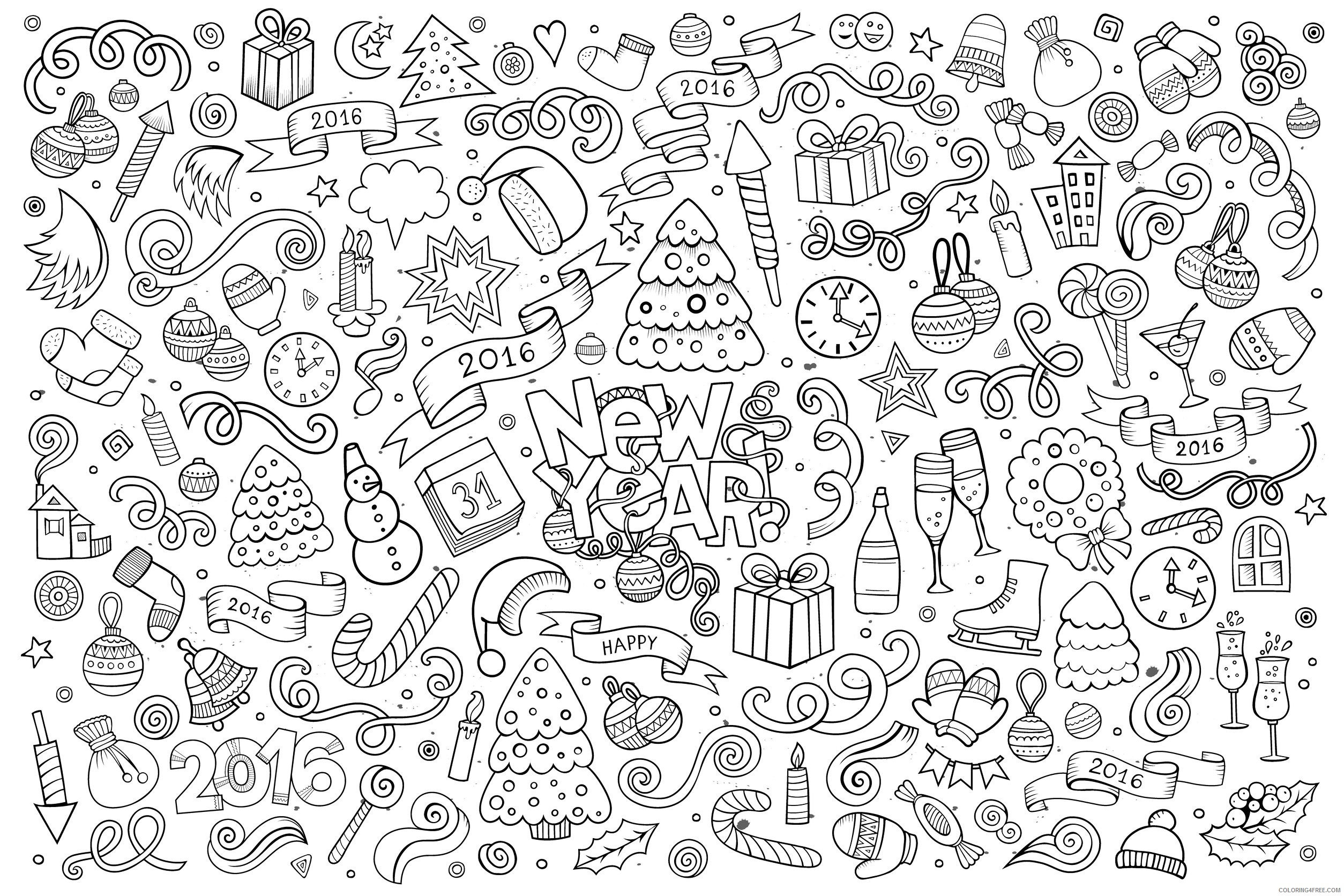 doodle coloring pages new year Coloring4free