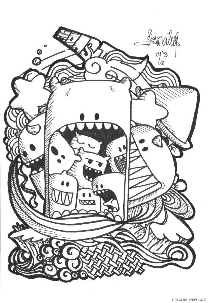 doodle coloring pages printable Coloring4free