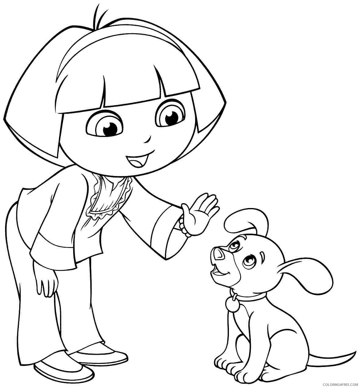dora coloring pages dora puppy Coloring4free