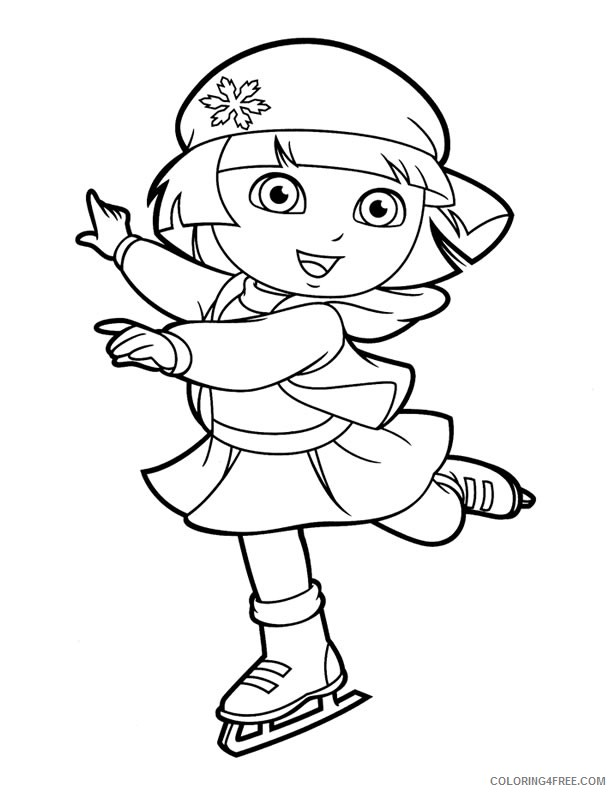 dora coloring pages ice skating Coloring4free
