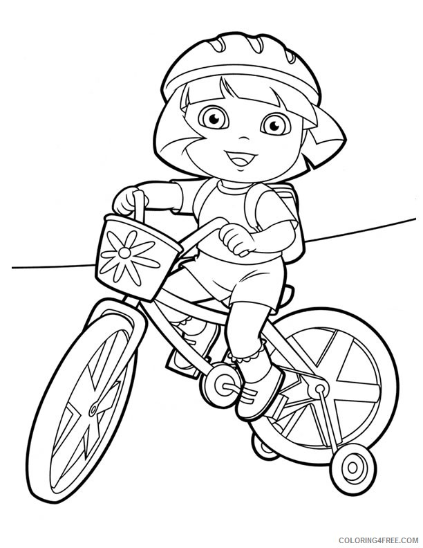 dora coloring pages riding bicycle Coloring4free