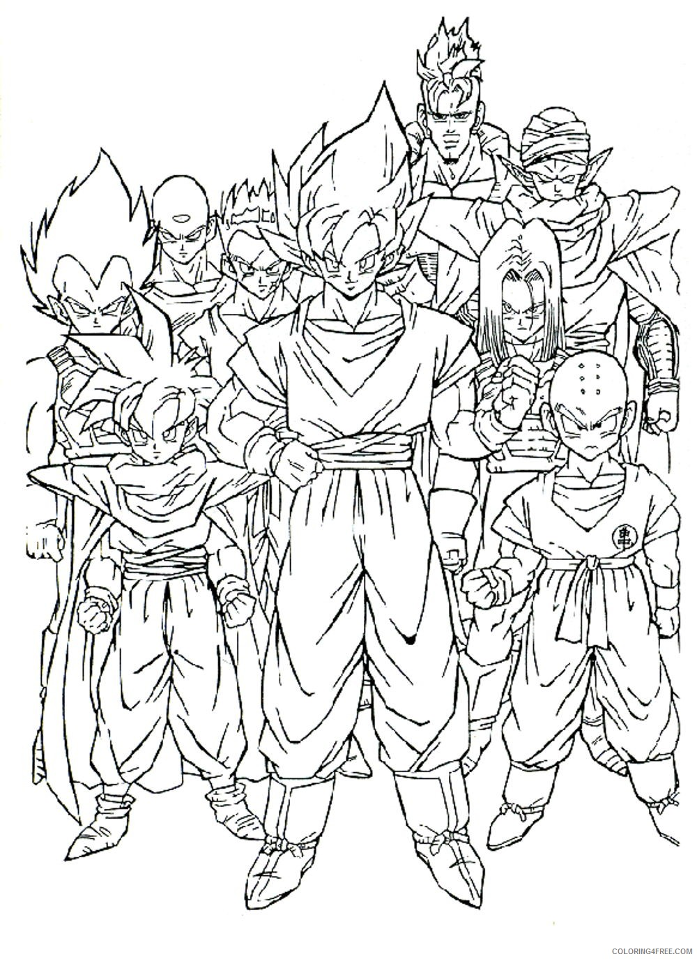 dragon ball z coloring pages all characters Coloring4free