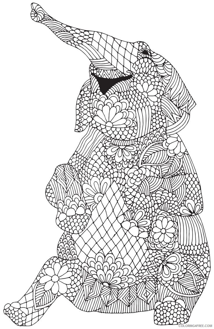 elephant coloring pages for adults Coloring4free
