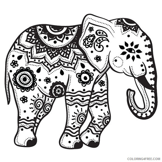elephant coloring pages for adults printable Coloring4free