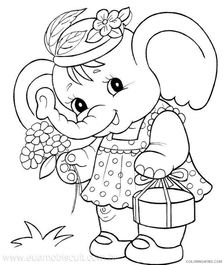 elephant coloring pages for girls Coloring4free