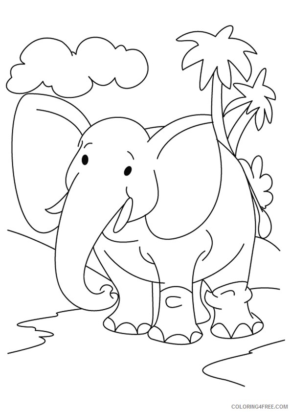 elephant coloring pages for kindergarten Coloring4free