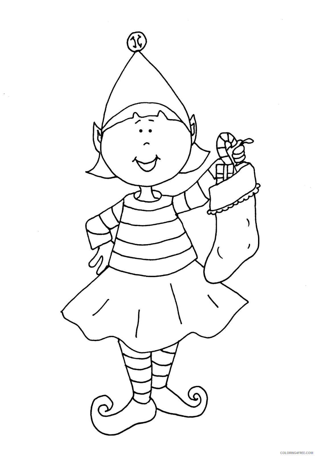 elf coloring pages with christmas stockings Coloring4free
